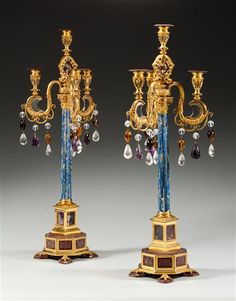 A Pair of late 19th century Venetian ormolu and lapis lazuli  candelabra, decorated with rock crystal amber and amethyst drops. Italy, circa 1875 | London | (via Mallett Antiques)