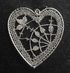 Needle Lace, Bobbin Lace, Lace Heart, Fabric Yarn, Lace Jewelry, Happy Valentines Day, Lace Detail, Jewerly, Butterfly