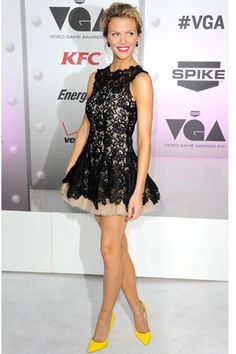 Idea: Tulle skirt/slip under black dress with bright shoes! Loving everything about this outfit!