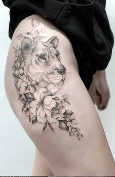 Find and save the latest tattoo trends, from hand poked best friend tattoos, black and white pieces to colorful flower motifs. Henna Tattoo Designs, Mandala Tattoo Design, Tattoo Designs For Women, Flower Tattoo Designs, Lion Tattoo On Thigh, Upper Thigh Tattoos, Back Thigh Tattoo, Animal Thigh Tattoo, Cute Thigh Tattoos