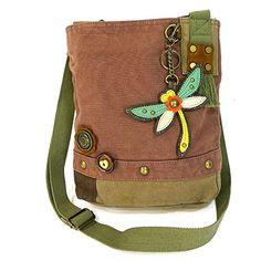 Chala Handbags Patch Crossbody Canvas Purse Bag with Coin Purse (Mauve, Olive)
