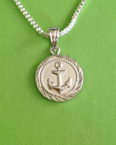Silver Anchor Medal Necklace by joytoyou41 on Etsy, $22.00