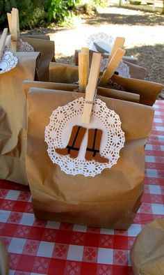 Gift bags for a pony party, cowgirl or western birthday.