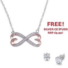 Two Tone Cubic Zirconia Infinity Heart Necklace - John Stewart Jewellers