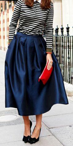 Striped Top | Full Navy Skirt.