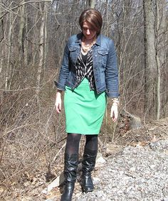 Emerald pencil skirt, layered jean jacket, black and white sweater. Carmen necklace Stella and Dot.