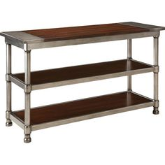 Perfect as a home bar, kitchen island, or entryway accent, this console table blends industrial style with the burnished appeal of stained wood....