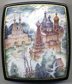 Kozlov Sergey, Fedoskino lacquer box, Town of Feropontovo