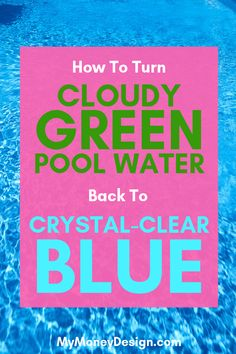Does your pool look like a swamp? Don't waste your time and money! Here's exactl… Does your pool look like a swamp? Don't waste your time and money! Here's exactly what you need to do to get rid of cloudy pool water and turn it from green to blue. Green Pool Water, Cloudy Pool Water, Blue Pool, Pool Cleaning, Green Cleaning, My Pool, Pool Fun, Pool Care, Green To Blue