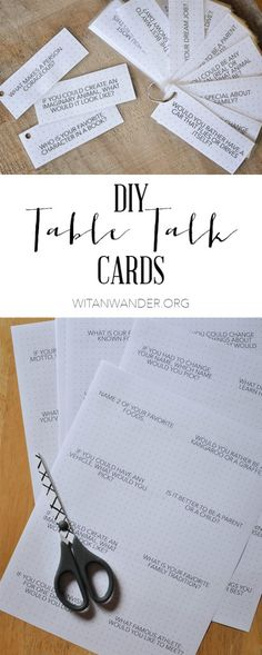 A quick DIY tutorial for Dinner Table Talk Cards with a Free Printable containing over 100 questions to spark conversation and make it feel…