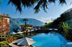 3. Hotel Tremezzo (Comomeer, Italië) Het oudste hotel op het Comomeer, Hotel Tremezzo, is een waar Art Nouveau paleis met een panoramisch uitzicht over het meer, de badplaats Bellagio (waar dat andere bekende hotel naar is vernoemd) en op de achtergrond het Grignegebergte.