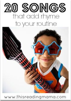 If you have a young child who is reluctant to work on rhyming (an important skill for early reading), the trick may just be to integrate rhyming naturally into your routine! Here are 20 Songs to help you do just that. | This Reading Mama