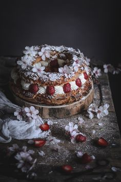 Strawberry Paris-Brest with creme patissiere and chantilly