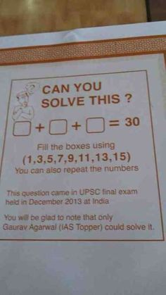 Humor Discover Heres a problem thats part of a math exam in India. You need to select three numbers (no more no . - Image Redd it Weird Facts Fun Facts Funny Mind Tricks Reto Mental Iq Puzzle Maths Exam Math Test Math Questions Brain Games Weird Facts, Fun Facts, Amazing Science Facts, Reto Mental, Funny Mind Tricks, Iq Puzzle, Maths Exam, Math Test, Math Questions