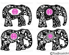 c7183f7d2 Zentangle elephant frame Cutting Files SVG PNG EPS dxf ClipArt Instant  Download iron on heat transfer shirt digital decal vinyl pattern 496C