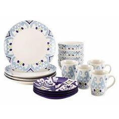 I Love green & Blue together! Rachael Ray Dinnerware Ikat 16-Piece Stoneware Dinnerware Set in Blue Print-58768 at The Home Depot
