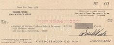 Cornel Wilde signed check