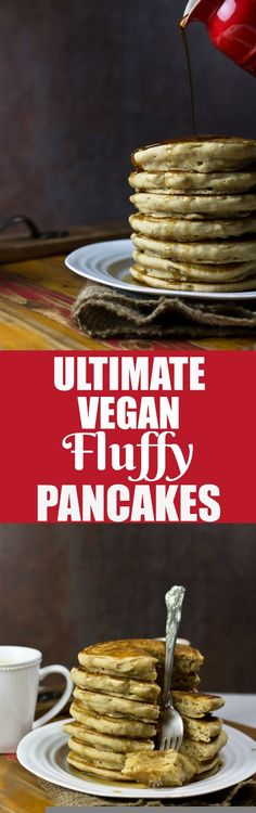 The Ultimate Fluffy Vegan Pancakes right here! Easy and fast to make. These are oil-free, super soft, incredibly fluffy and sure to please anybody, vegan or not! These will, without a doubt, become a regular in your household! via @thevegan8