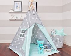 Teepee set with floor mat and pillows – Mint Heaven Ideas Dormitorios, Kids Teepee Tent, Teepees, Tent Design, Floor Mats, Kids Furniture, Kids Playing, Home And Living, Kids Room