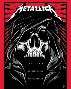 Title: Metallica Poster artist: Acorn Edition, numbered out of 350 Year: 2018 Type: Limited edition screen printed poster Size: 18 x 24 Location: Madrid, Spain Venue: Wizink Center Metallica Band, Metallica Concert, Heavy Metal Rock, Heavy Metal Bands, Woodstock, Rock Band Posters, Tour Posters, Band Logos, Rock Music