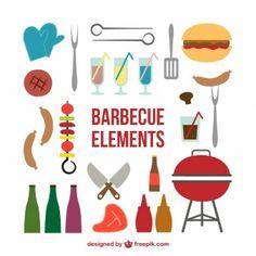 Iconos de comida de barbacoa