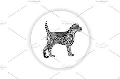 Black and white dog with hand-drawn pattern by rinika on @creativemarket