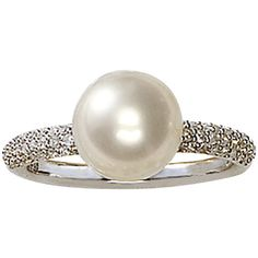 Effy Collection 14 Kt. White Gold Freshwater Pearl & Diamond Ring found on Polyvore