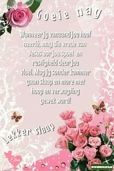 Lekker slaap Evening Greetings, Goeie Nag, Afrikaans Quotes, Goeie More, Day Wishes, Night Quotes, Sleep Tight, Special Quotes, Good Night Good Night Messages, Good Night Quotes, Evening Greetings, Evening Quotes, Afrikaanse Quotes, Good Night Blessings, Goeie Nag, Goeie More, Christian Messages