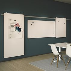 Abstracta - Moow Moow leaves an exclusive and neat impression. Designed as a series of flexibility, the whiteboards to this rail system comes with a fixture or on embedded wheels, allowing the board to be either freestanding or mounted to the wall.