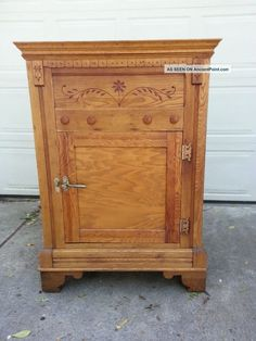 Antique Oak Ice Box, All, Rare Ornate Large, Heavy Look