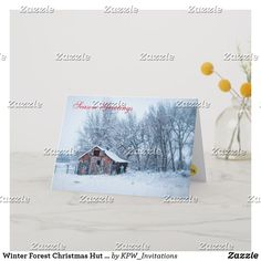 Winter Forest Christmas Hut Scene Holiday Card