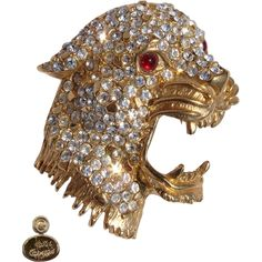 Vintage Pin Hattie Carnegie Rhinestone & Gold Toned Leopard Head Brooch