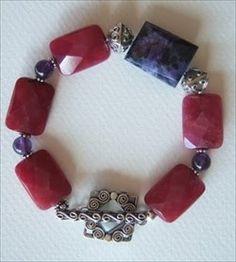 Handmade charoite, ruby quartz, Bali sterling handmade-beaded-gemstone-jewelry.com