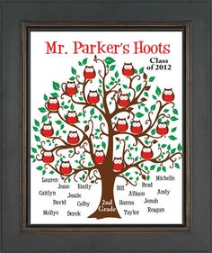 Teacher Gift - Personalized Teacher Gift Print -Tree with Owls - Kid's Names -School Year and Grade-Can be in other colors Teacher Retirement Gifts, Cute Teacher Gifts, Teacher Treats, Personalized Teacher Gifts, Personalized Stationery, Teacher Appreciation Gifts, School Gifts, School Fun, School Daze