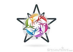 Circular natural people star success vector logo design template.