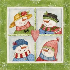 Metaverse Four Snowmen By Debbie Mcmaster Canvas Art Christmas Snowman, Christmas Crafts, Christmas Rock, Christmas Printables, Christmas Ornaments, Vintage Christmas, Christmas Ideas, Merry Christmas, Canvas Artwork