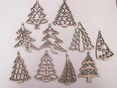 Christmas Tree Laser Cut Wood Ornaments, 10 Pieces, Unfinished Wood, Christmas Decorations, Ready to Paint Wood Shapes, Wreath Embellishment