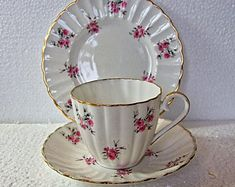 Vintage Ribbed Jason Rosemarie China Trio Cup Saucer And Sideplate Susie Cooper, Wedding China, Stoke On Trent, Side Plates, Rare Antique, Bone China, Cup And Saucer, Tea Cups, Art Deco