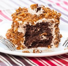 Kona Coffee Chocolate Chiffon Cake w/Kona Coffee Cream Frosting & Coconut Macadamia Brittle