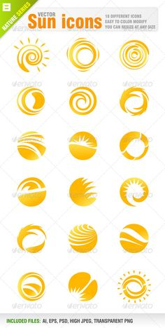 18 Sun Icons #GraphicRiver Vector set of 18 different sun icons. Vector Icons . You can use resize at any size. Each icon included in different layer for ai, eps and psd documents. Ai, eps, psd, high jpeg and transparent png files included in the zip file. You can see other sun icons from my portfolio.. Please, dont forget to rate my vectors! Thank you NATURE Created: 27February13 GraphicsFilesIncluded: PhotoshopPSD #TransparentPNG #JPGImage #VectorEPS #AIIllustrator Layered: Yes…