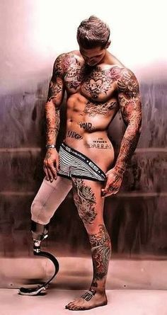 Marine turned model: Alex Minsky ....  great tattoos! Admire him for over coming his struggles!
