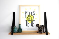 """Affiche """"Des idées plein la tête"""", 30x40, décoration, illustration, phrase, typographie de la boutique KIPIKdesign sur Etsy"""