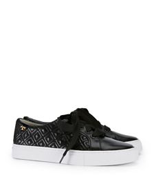 Off-Duty Chic: Diamond-Stitched Quilted Leather & Wide Grosgrain Laced Sneaker by Tory Burch