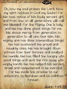 Mary's song...Luke 1:46-55