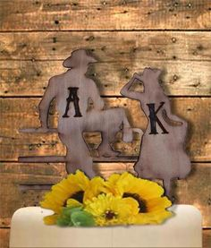 Cowboy Cowgirl Wedding Cake Topper, Rustic Country Western  Wood Engraved…