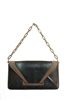 e294c25178a08 Pauric Sweeney Evening Bag Clutch Tote Exotic Leather Olive Green Brown  Beige #fashion #clothing