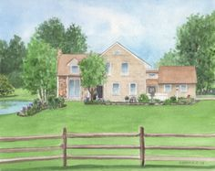 Custom Watercolor or Pen & Ink House Home by SuzanneChurchillArt
