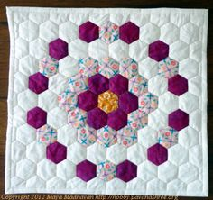 """My first hexie! 16"""" square. Love English paper piecing!"""