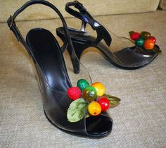 NOS Vintage 50s clear and black patent fruit pumps shoes Carmen Miranda. $99.00, via Etsy.
