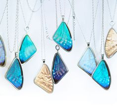 The average butterfly only lives between 1 and 4 weeks, but Audrey Botha has found a way to immortalize them. The butterflies used in her collection are sourced from farming projects all over the world and are bred in a sustainable manner. By purchasing jewelry from Papillon Belle, you are not only helping the environment, you are also providing employment for the families in third world countries who breed and raise these delicate creatures.